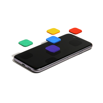 A smartphone with different colored buttons floating above its surface.